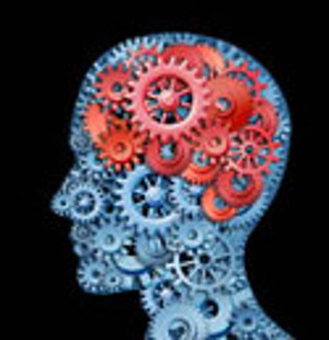 head full of gears - red gears illustrate areas of cognition