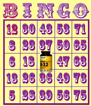 "Bingo Card with ""B 12"". Bottle of B12 lozenges is in the center square"