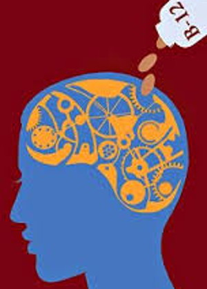 graphic of head in silhouette with gears as the brain. B12 tablets are being poured into the gears