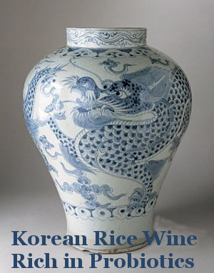 Korean urn with blue dragon art - Korean Rice Wine