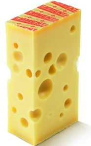 Emmentaler Swiss Cheese with its distinctive label is imported from Switzerland