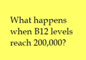"post-it note reading, ""what happens when B12 levels reach 200,000?"""