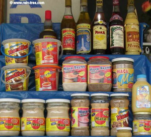 Shelves full of Peruvian Maca products