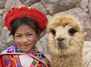 Young Peruvian girl with Alpaca