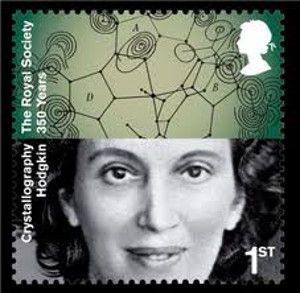 Dorothy Hodgkin stamp - she won Nobel Price in Chemistry for showing the 3  dimensional structure of vitamin B12.