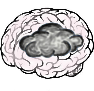 Drawing of pink brain with dark area obscuring part of it