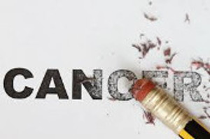 Graphic Art - Pencil eraser applied to the word CANCER