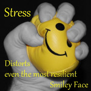 image of fingers clutching and distorting a smiley face ball - Stess distorts even the most resilient Smiley Face