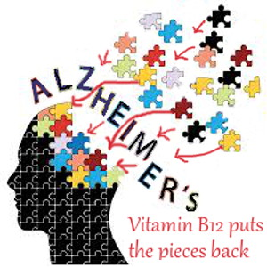 Brain pictured as puzzle with pieces missing - Text: Vitamin B12 puts the pieces back