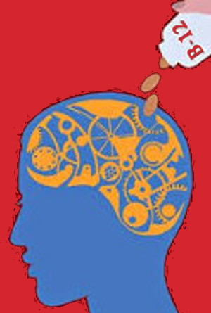Graphic - B12 supplements being poured into gears representing brain